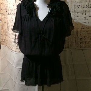 Etcetera Black Silk V-Neck Blouse Size 8